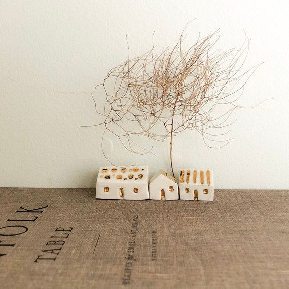 Set of 3 Miniature Porcelain Houses Painted with Real Gold Lustre, Tiny Little Houses, Fairy Garden House