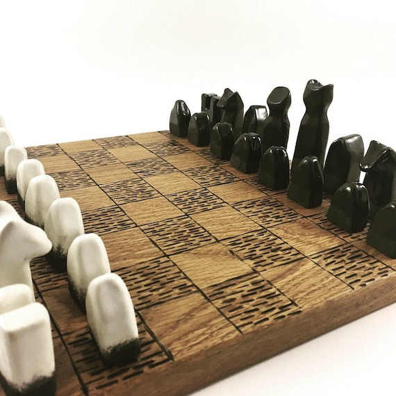 Ceramic Chess Set with Wood Board
