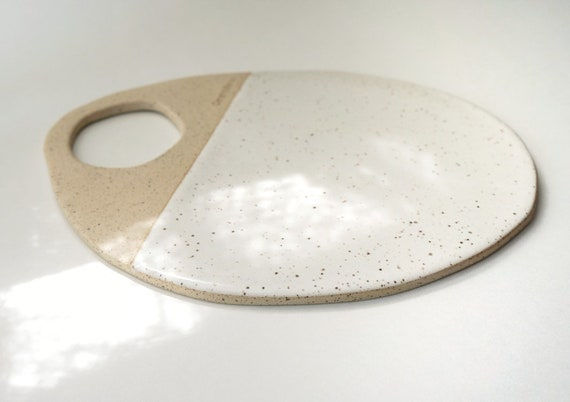 Ceramic Cheese Board - White & Beige Speckled Stoneware
