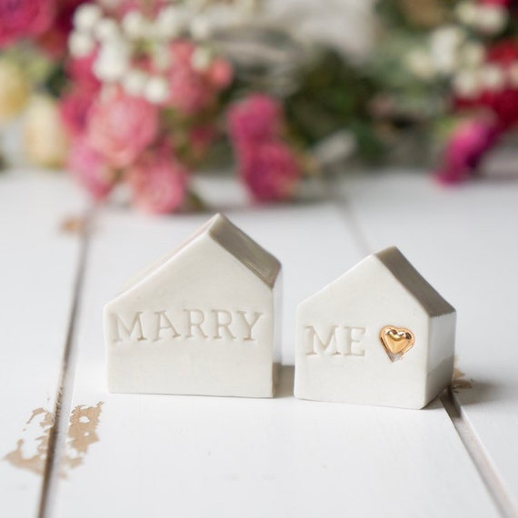MARRY ME, Porcelain Houses with 24K Gold Heart - Set of 2