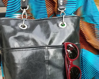 Urban Tote with African Flair in Faux Leather