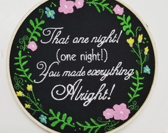 The Office That One Night You Made Everything Alright - Hoop Art - 6 inch hoop - The Office Embroidery Decor Michael Scott