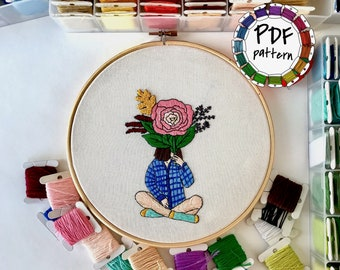 Girl and flowers 4. Hand Embroidery pattern PDF. DIY. Embroidery Hoop art, Hand Embroidery, Wall Decor, Housewarming Gift. Stitch guide