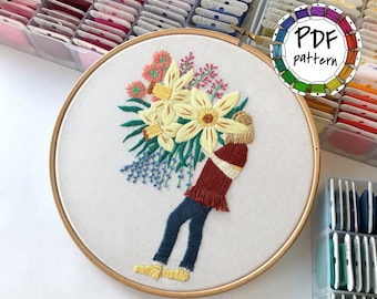 Girl and flowers 6. Hand Embroidery pattern PDF. DIY. Embroidery Hoop art, Hand Embroidery, Wall Decor, Housewarming Gift. Stitch guide