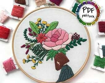 Girl and flowers. Hand Embroidery pattern PDF. DIY. Embroidery Hoop art, Hand Embroidery, Wall Decor, Housewarming Gift. Stitch guide