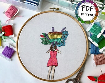 Girl and flowers 5. Hand Embroidery pattern PDF. DIY. Embroidery Hoop art, Hand Embroidery, Wall Decor, Housewarming Gift. Stitch guide