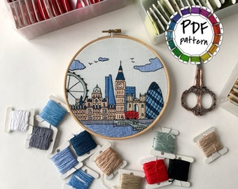 London, United Kingdom. Hand Embroidery pattern PDF. DIY.Embroidery Hoop art,  Wall Decor, Housewarming Gift. Free Hand embroidery guide!