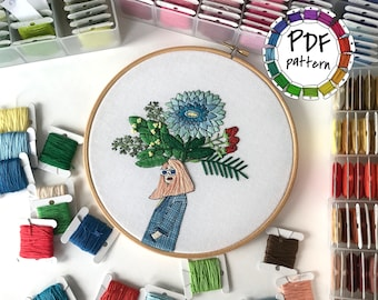 Girl and flowers 3. Hand Embroidery pattern PDF. DIY. Embroidery Hoop art, Hand Embroidery, Wall Decor, Housewarming Gift. Stitch guide