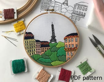 Paris, France. Hand Embroidery pattern PDF. Embroidery Hoop art, Hand Embroidery, Wall Decor, Housewarming Gift. Free Hand embroidery guide!
