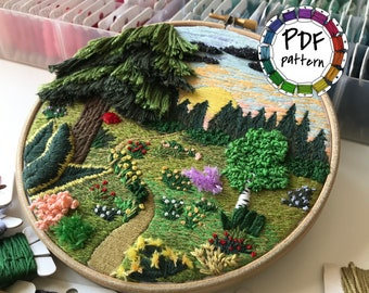 Forest landscape, 3d embroidery pattern. Hand Embroidery pattern PDF. DIY. Embroidery Hoop art, Hand Embroidery, Decor. Video tutorial