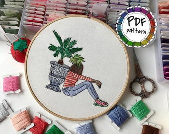 Girl and vase. Hand Embroidery pattern PDF. DIY. Embroidery Hoop art, Hand Embroidery, Wall Decor, Housewarming Gift. Stitch guide