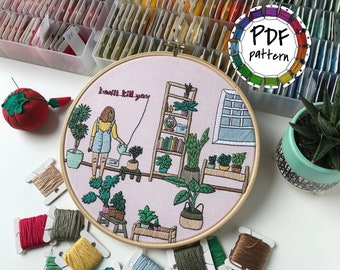 Girl and plants. Hand Embroidery pattern PDF. DIY. Embroidery Hoop art, Hand Embroidery, Wall Decor, Housewarming Gift. Stitch guide