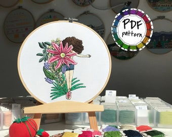 Girl and flowers 7. Hand Embroidery pattern PDF. DIY. Embroidery Hoop art, Hand Embroidery, Wall Decor, Housewarming Gift. Stitch guide