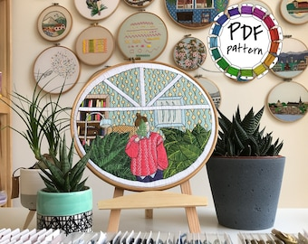 Girl and leaves. Hand Embroidery pattern PDF. DIY. Embroidery Hoop art, Hand Embroidery, Wall Decor, Housewarming Gift. Stitch guide