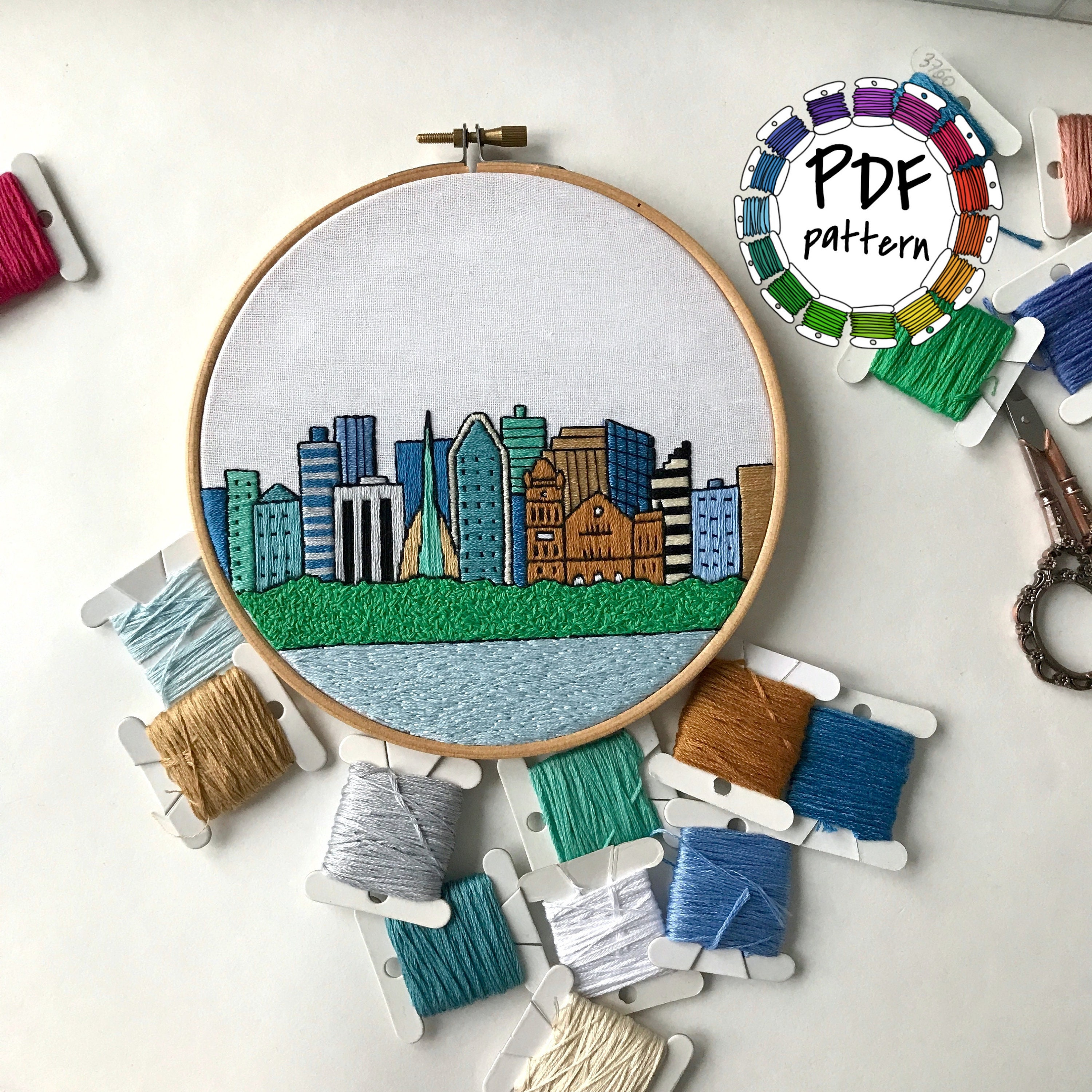 Perth, Australia. Hand Embroidery pattern PDF. Embroidery Hoop art. DIY.  Wall Decor, Housewarming Gift. Free Hand embroidery guide