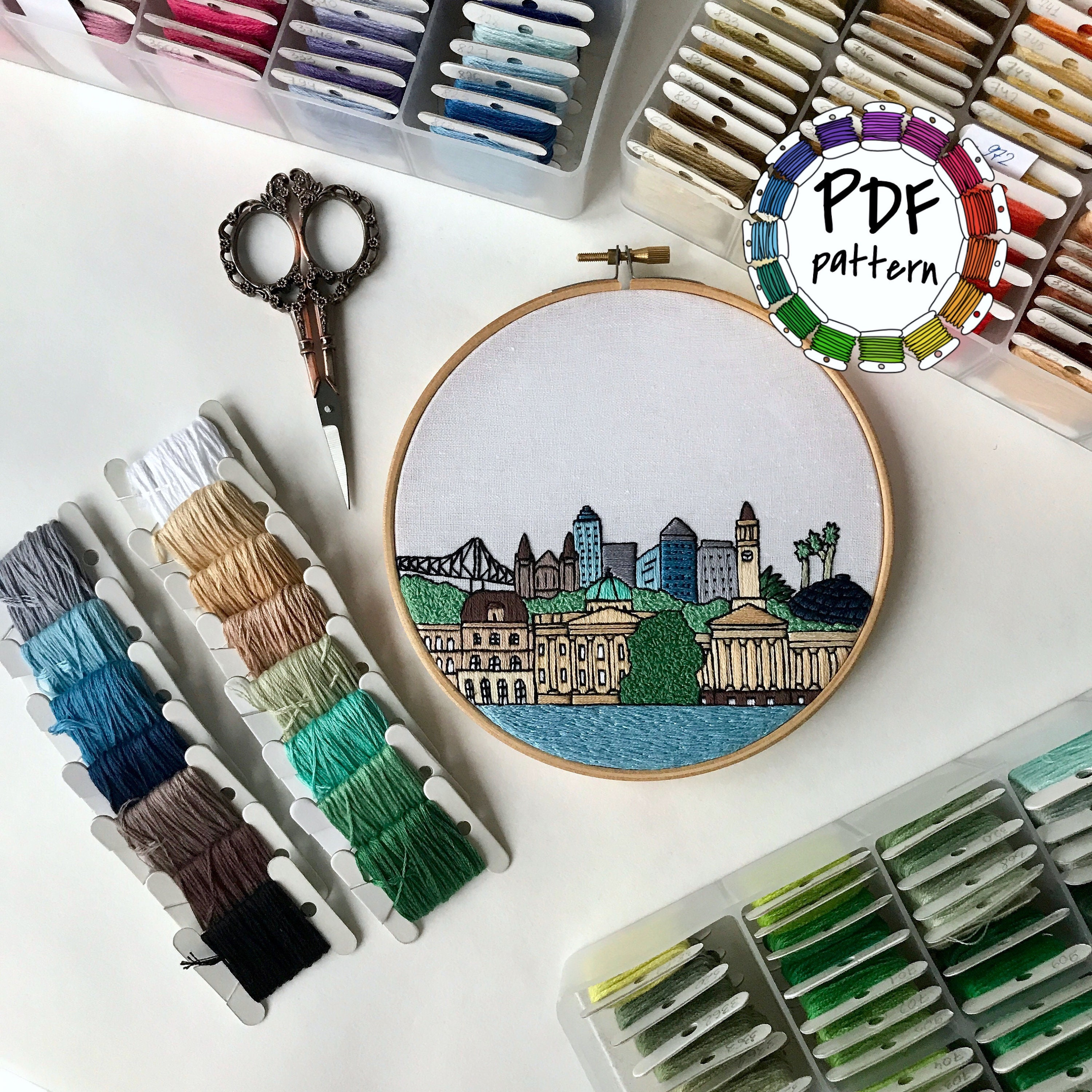 Brisbane Australia Hand Embroidery pattern PDF. DIY. Embroidery Hoop art,  Wall Decor, Housewarming Gift. Free Hand embroidery guide