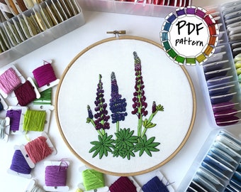 Lupins. Hand Embroidery pattern PDF. DIY. Embroidery Hoop art, Hand Embroidery, Wall Decor, Housewarming Gift. Stitch guide