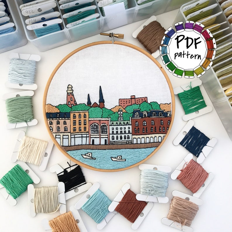 Portland Maine Hand Embroidery pattern PDF  Embroidery Hoop art  DIY  Wall  Decor, Housewarming Gift  Free Hand embroidery guide!