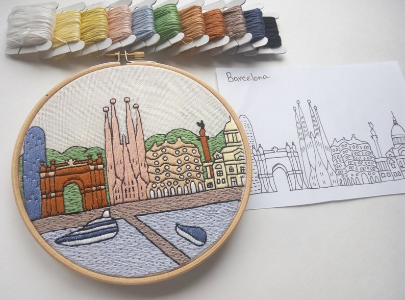 Barcelona Spain Hand Embroidery pattern PDF DIY Free Hand embroidery guide! Embroidery Hoop art Housewarming Gift Wall Decor