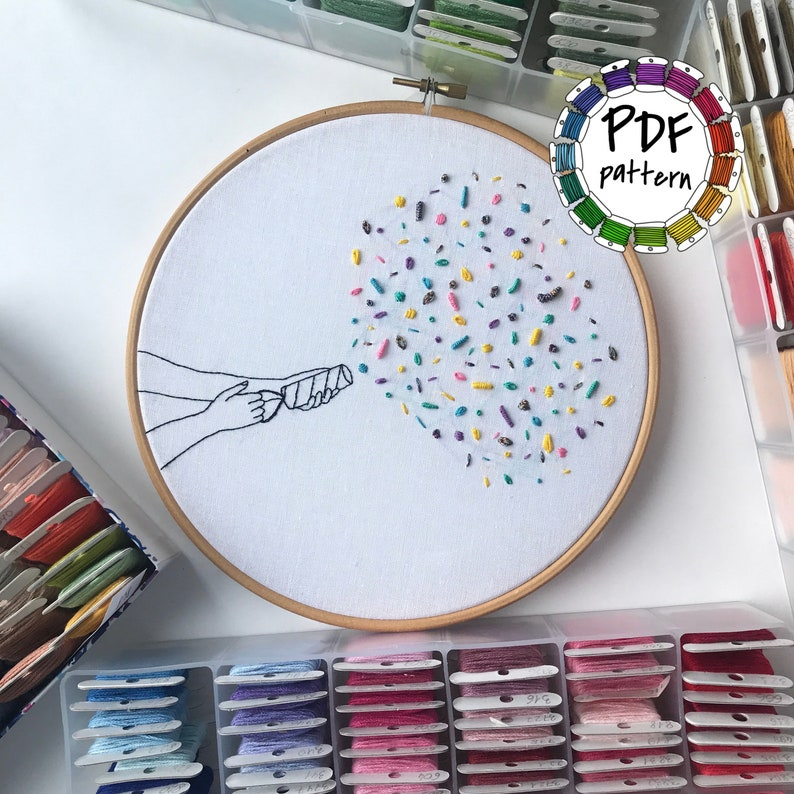 Party popper  7 embroidery stitches tutorial  Hand Embroidery pattern PDF  DIY, Hoop art, Wall Decor, Housewarming Gift  Stitch guide