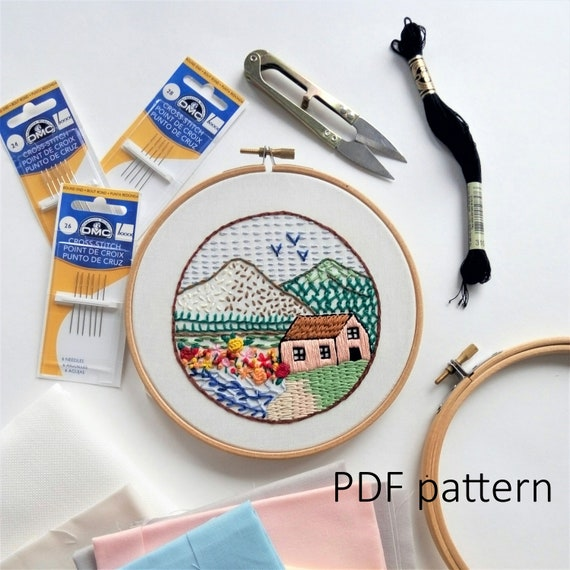 Sampler 21 Embroidery Stitches Tutorial Hand Embroidery Etsy