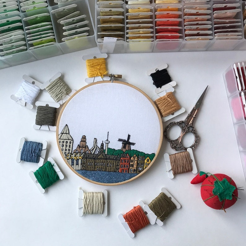 Hand Embroidery pattern PDF Wall Decor DIY Embroidery Hoop art Housewarming Gift Free Hand embroidery guide! Netherlands Rotterdam