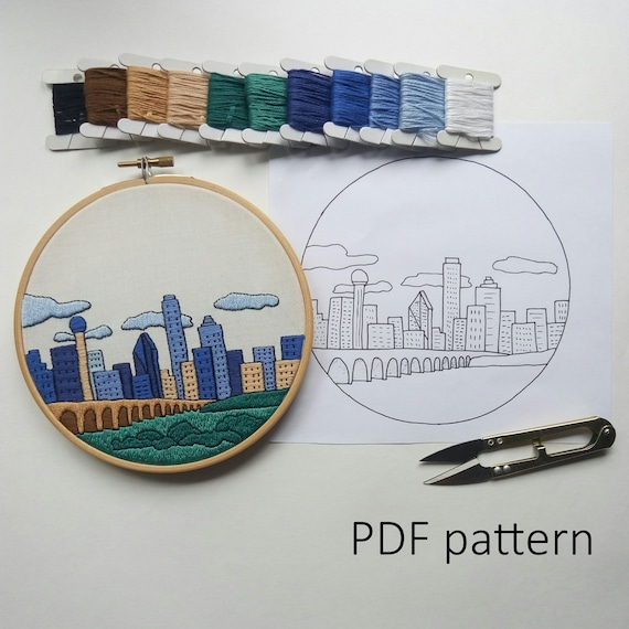 Dallas Hand Embroidery Pattern Pdf Embroidery Hoop Art Wall Etsy