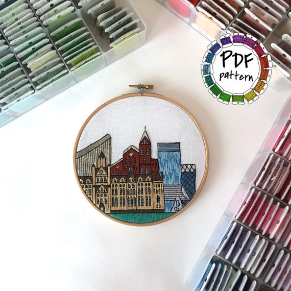 United Kingdom Hand Embroidery pattern PDF Housewarming Gift Embroidery Hoop art DIY Free Hand embroidery guide Wall Decor Manchester