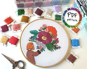 Girl and flowers 2. Hand Embroidery pattern PDF. DIY. Embroidery Hoop art, Hand Embroidery, Wall Decor, Housewarming Gift. Stitch guide