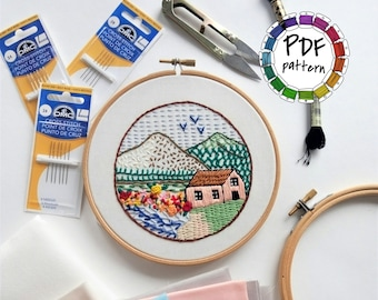 Sampler. 21 embroidery stitches tutorial. DIY. Hand Embroidery pattern PDF. Embroidery Hoop art, Wall Decor. Stitch guide. Video tutorial