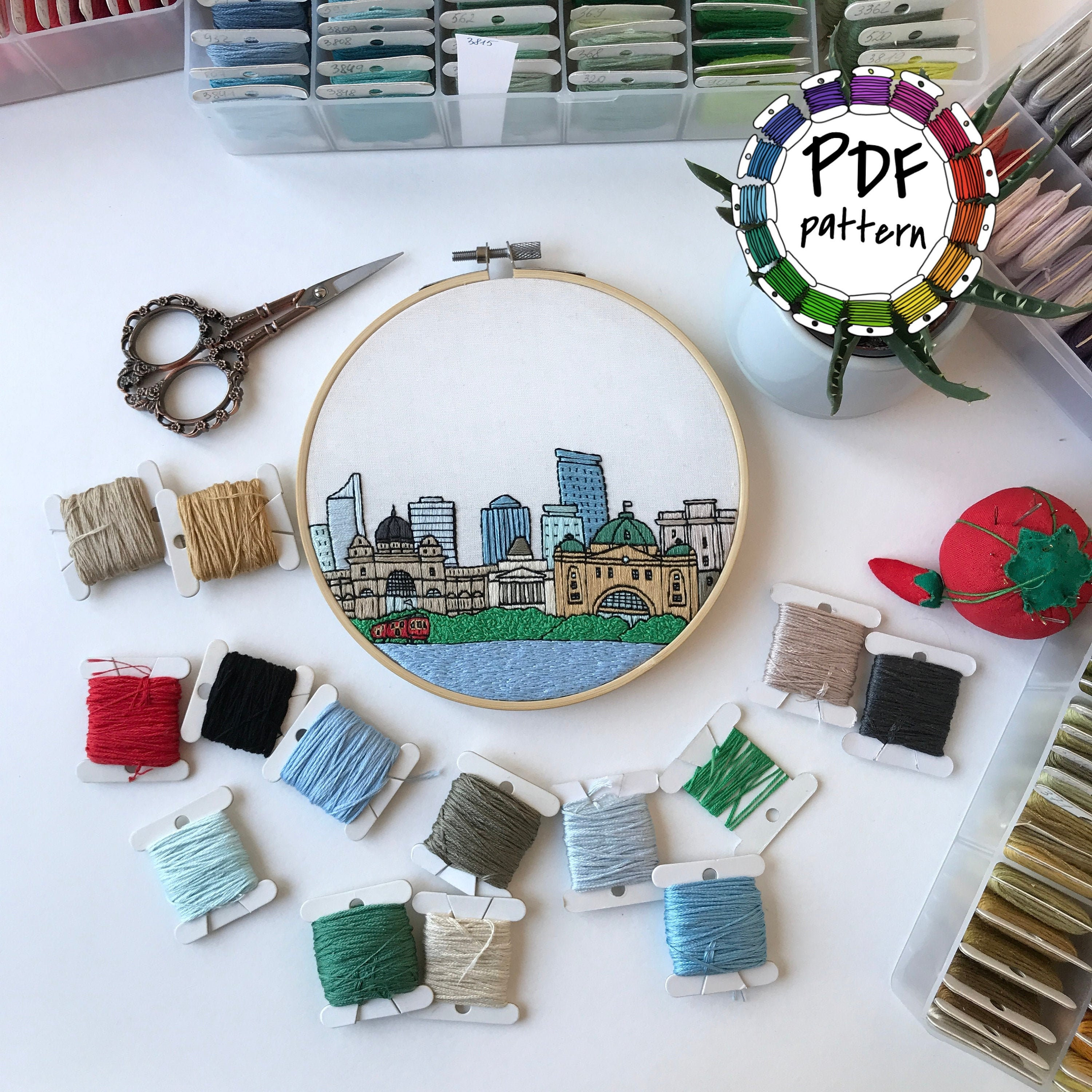 Melbourne, Australia. Hand Embroidery pattern PDF. DIY. Embroidery Hoop  art, Wall Decor, Housewarming Gift. Free Hand embroidery guide