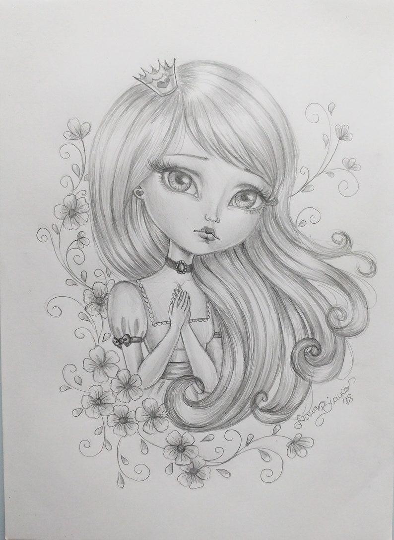 Original art drawing pencil graphite princess big eyes girl flowers
