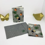 Passport case, passport protector, family booklet protector, navy cotton pouch with blue or beetle cacti