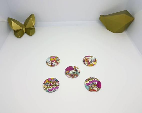 outlet à vendre acheter réel capture Lot de 5 aimants ronds en Liberty véritable. 5 magnets Liberty Land of  Dream couleurs vives Diamètre 38 mm.