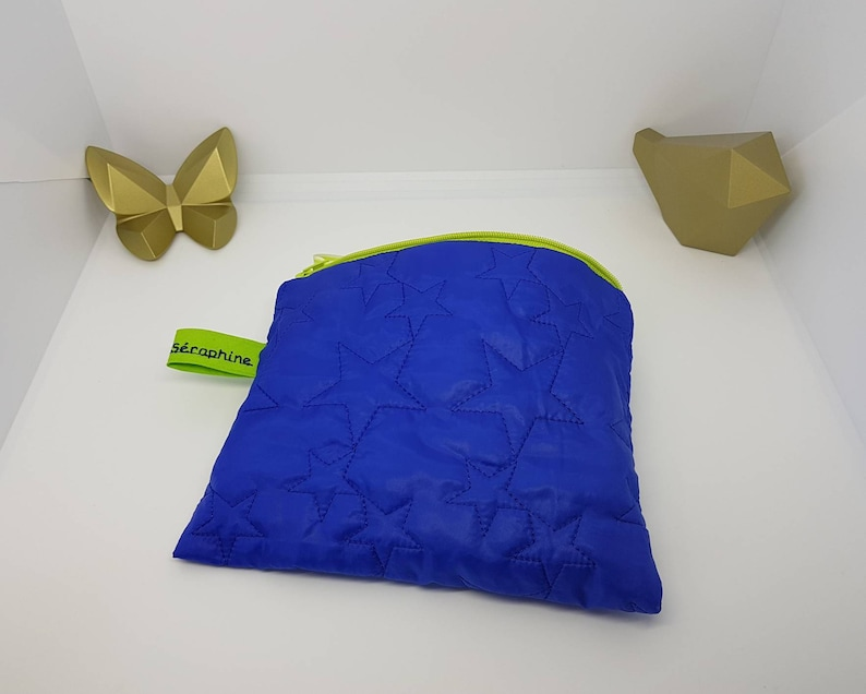 Starry stitching Apple green zipper. Kit toiletry bag ultra light blue quilted down jacket Large pouch flat