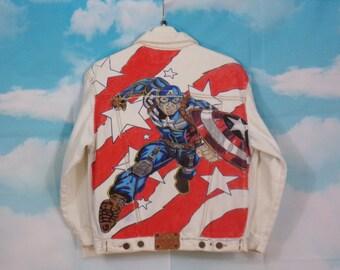 Veste jean Kid, veste en jean Motif Captain América peint main Taille 12 ans