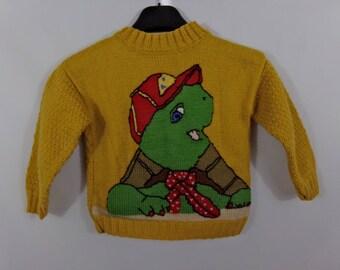 Kids handmade pullover turtle Franklin sweater knitted pullover Franklin, kid, child sweater, sweater, knitted pullover sweater