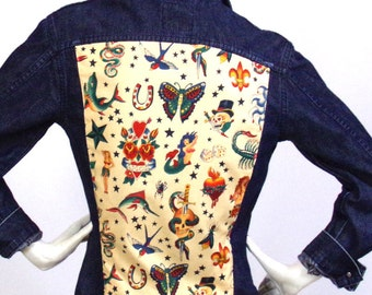 Veste jean bleu Motif Tattoo Pin Up Taille M/L Marque Lee Cooper