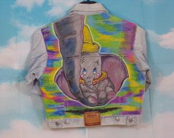 Veste jean bleu délavé, veste en jean Kid Motif Dumbo peint main Taille 3 ans