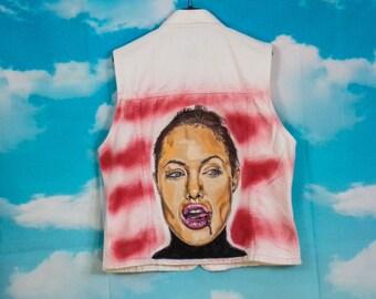 Veste jean blanc, veste en jean Motif Angelina Jolie peint main Taille S/M Marque Ici & Maintenant