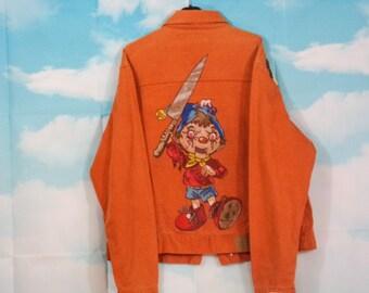 Veste jean orange, veste en jean Motif Pinocchio peint main Taille L/XL Marque Somewhere