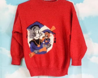 Pull kid rouge tricoté main Motif Tom & Jerry 6 ans