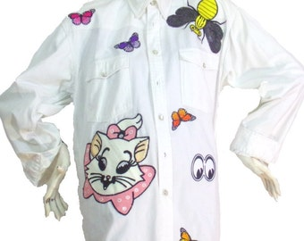 Chemise longue blanc Motif Abeille Taille S/M King's club | Prix soldé !