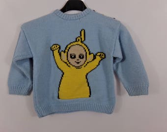 Child's hand knit sweater Teletubbies kids knitted jumper, sweater knit, sweater bottom, kid, child's pullover sweater, pullover
