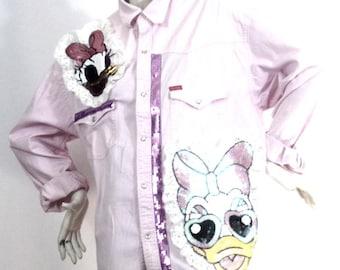 Chemise longue rose Motif Miss Daisy Taille XL Marque : Cooker's | Prix soldé !