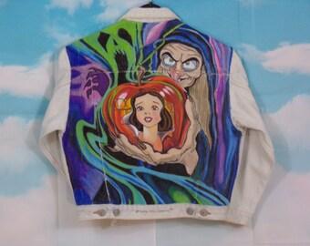 Veste jean Kid bleu délavé, veste en jean Motif Blanche Neige peint main 10 ans Marque Redson