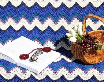 Blue Crochet afghan, crochet blanket, chevron ripples, lap afghan, home decor, lapghan, crochet throw, handmade blanket
