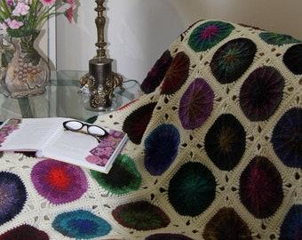 crochet multicolour throw, Noro Kureyon afghan, home decor, unique handmade blanket