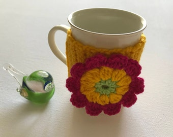Yellow mug cozy, crochet cup cozy, tea cup cozy, Xmas gift, gift idea, crochet mug cozy, flower cup cozy, mug hug,,mug hugger