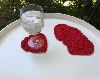Heart coasters, red coasters, Valentines gift,crochet hearts, set of 4 hearts, heart appliqué, stockings stuffers